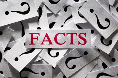 Several Pieces of Paper with Black Question Marks on them and One Piece of Paper with the Word Facts in Red Font