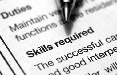 Skills Required Heading of a Job Application