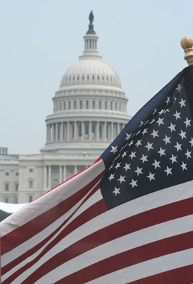 American Flag in Front of Capitol Building