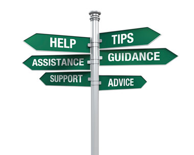 Street Sign with Six Signs that say Help, Assistance, Support, Tips, Guidance, and Advice