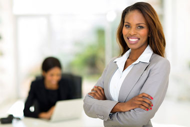 Woman in Business Attire Smiling