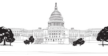 Black and White Image of Washington DC Capitol Building